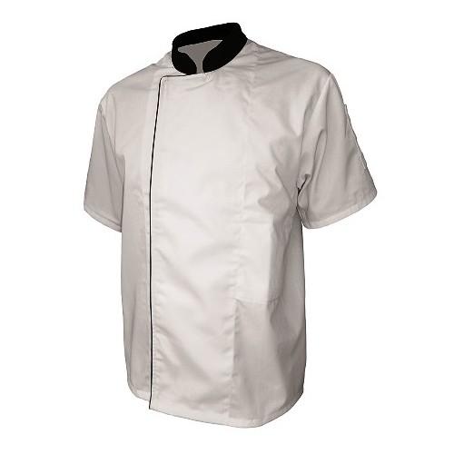Veste de cuisine blanche liseré noir