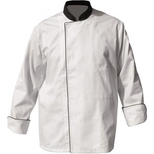 Veste de cuisine manches longues blanc parement noir